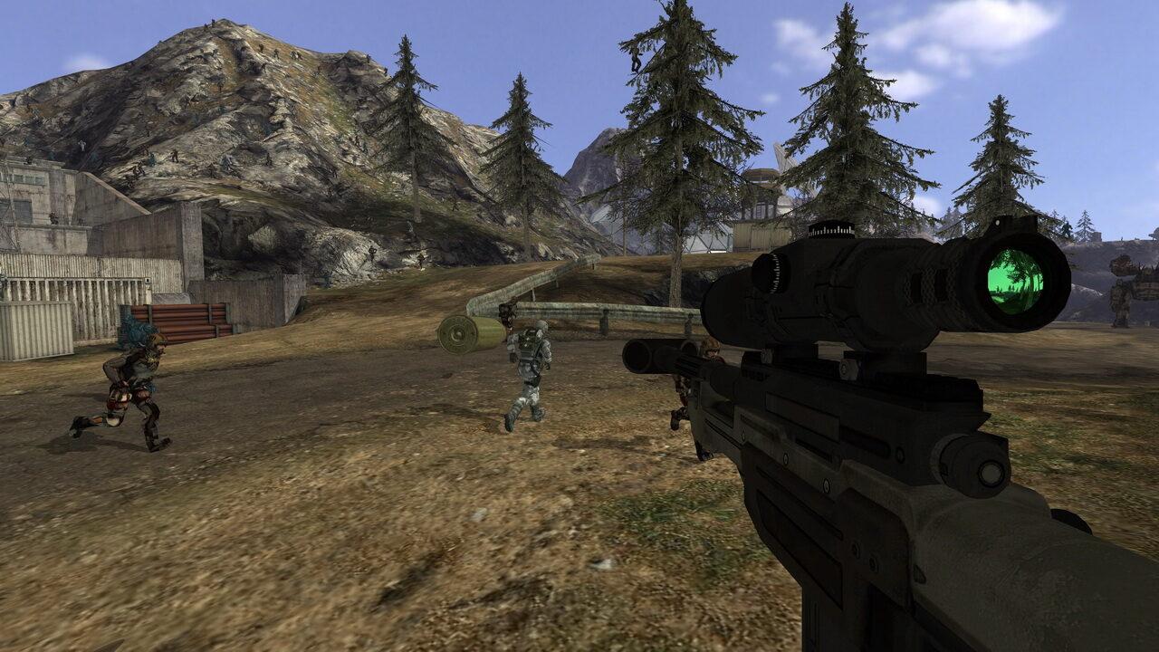 Quake Wars : Ray Traced était une version en ray tracing d'Enemy Territory : Quake Wars développée en 2007 par Intel. Les différences sont minimes, mais vous constaterez quand même que la lunette du fusil reflète le décor.