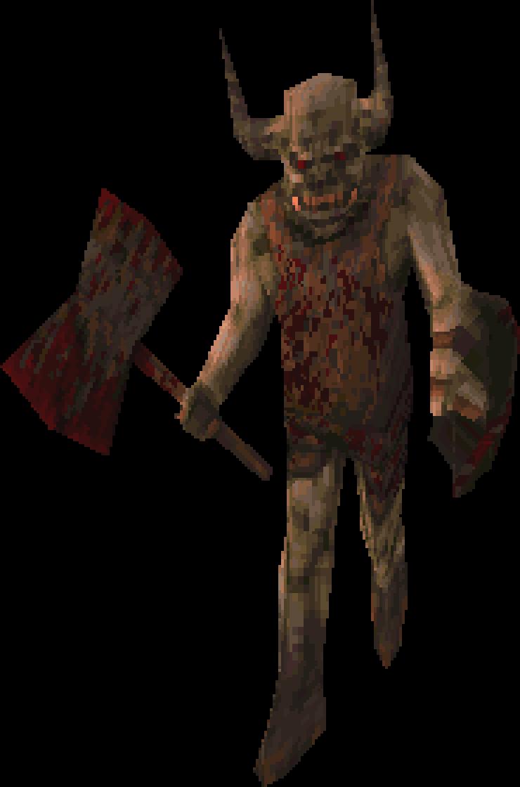 L'ogre, à l'époque où Quake était encore un jeu médiéval-fantastique. Dans la version finale, il aura un lance-grenades, histoire de moderniser un peu les récits des frères Grimm.