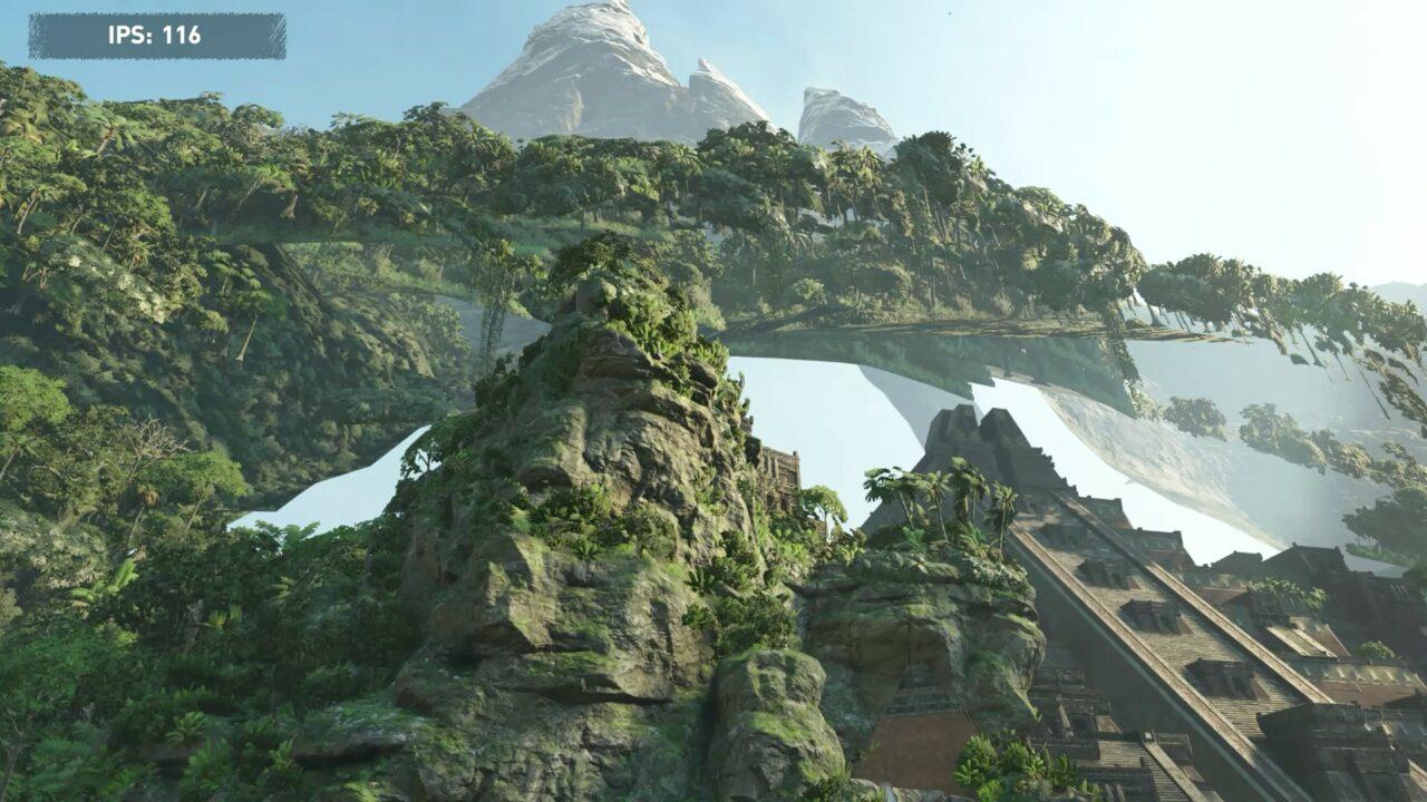 Dans cette scène du dernier Tomb Raider, les textures apparaissent en retard avec un disque dur.