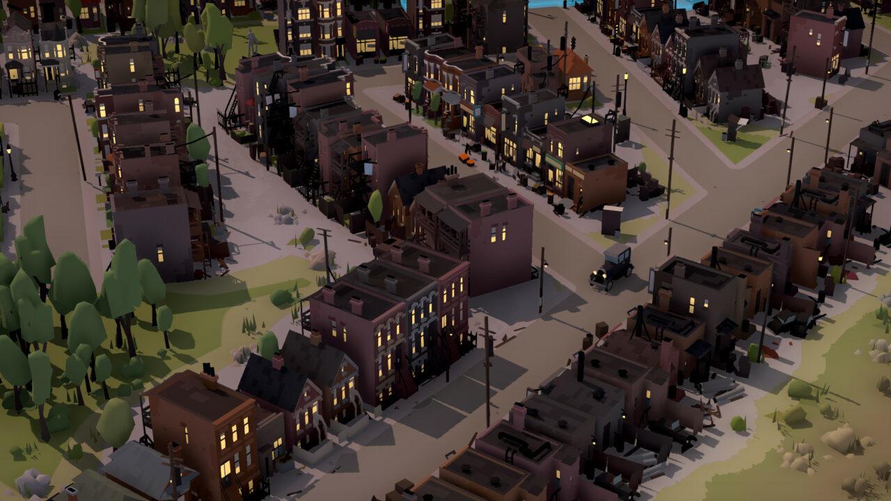 La ville générée procéduralement est immense, plutôt jolie avec son style low-poly, mais manque encore un peu de variété dans les bâtiments.