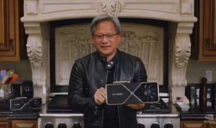 Le patron de Nvidia, confiné dans sa cuisine.