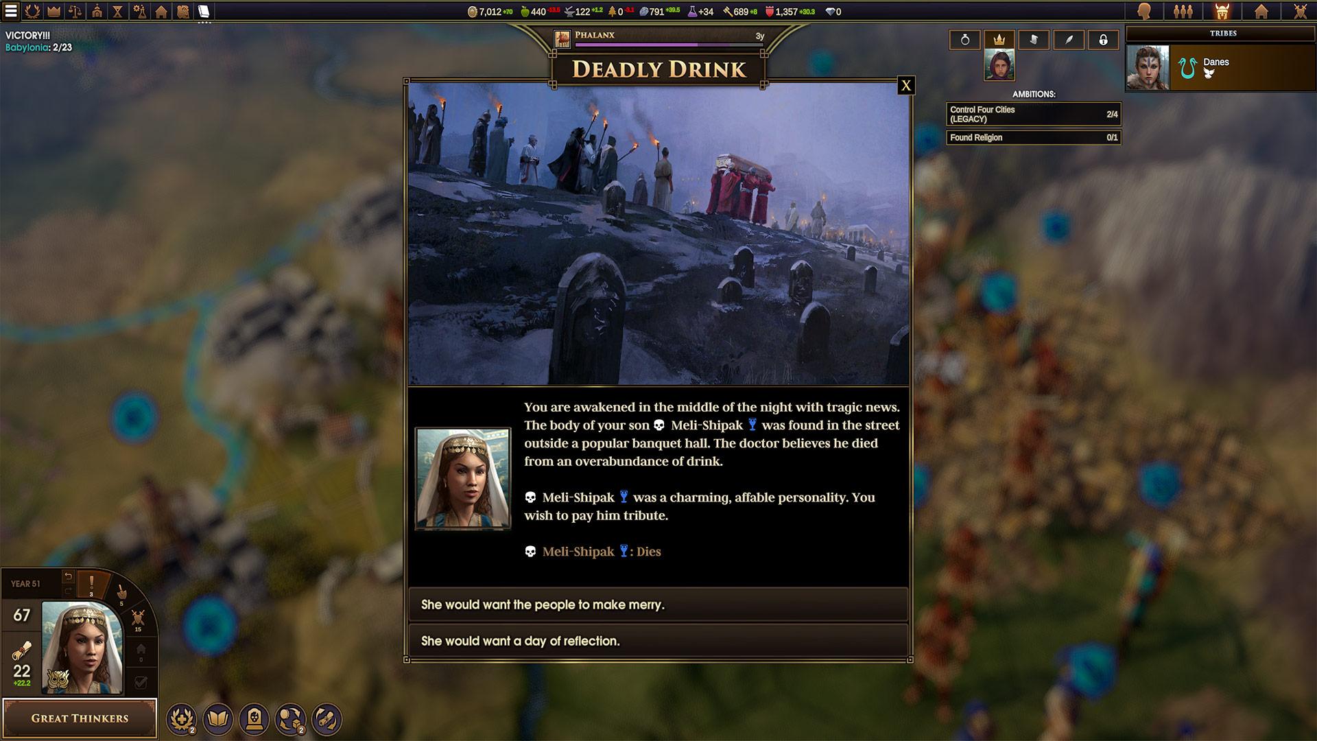 La gestion des différents personnages (époux, héritiers, rivaux...) et les événements qui vont avec s'inspirent clairement de Crusader Kings 2. Cela reste encore basique, mais l'intention est là.