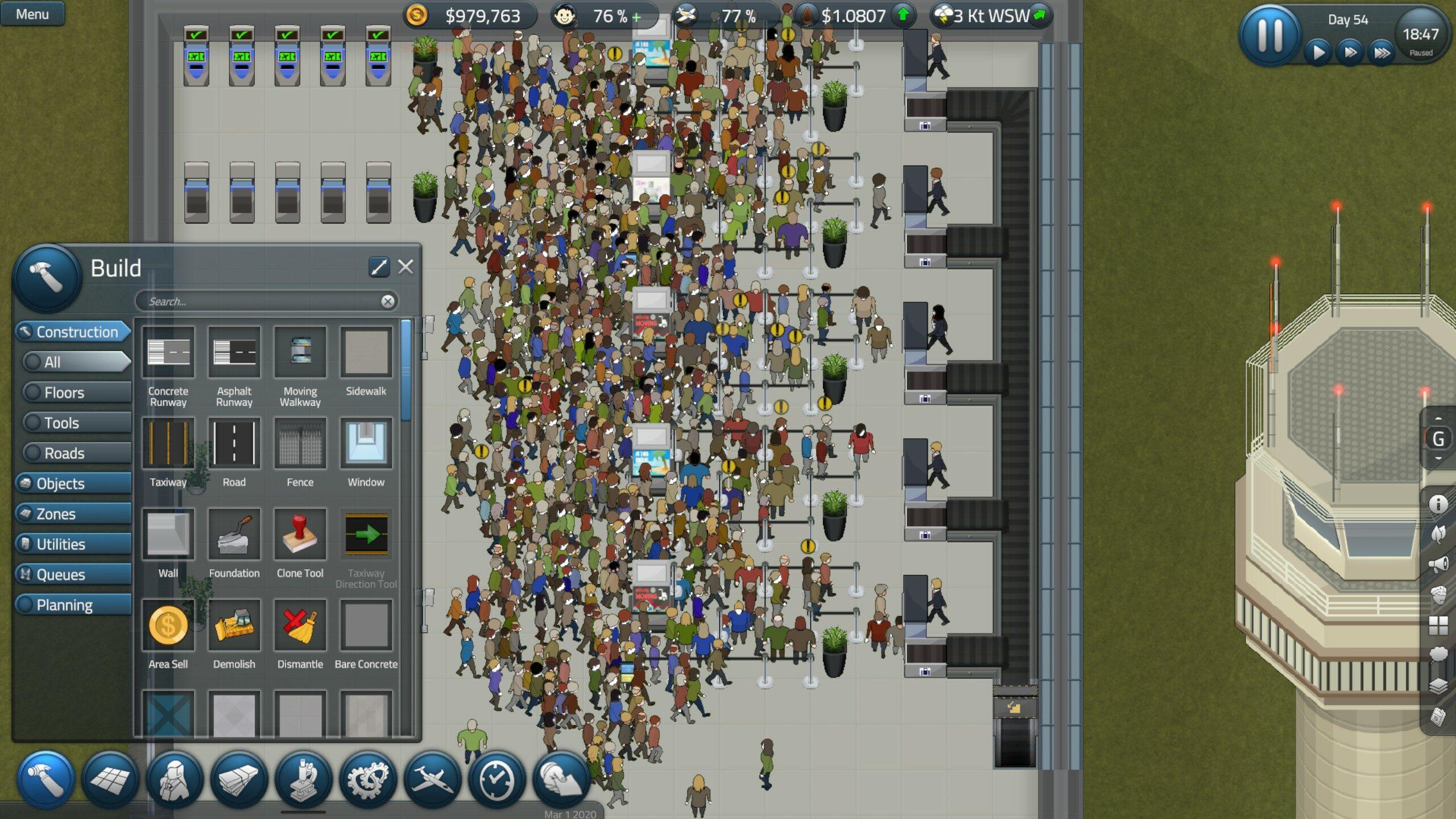 Oui, là j'avais un petit problème avec mes comptoirs d'enregistrement, rapport à un convoyeur de bagages mal assigné. Heureusement, le jeu permet d'identifier rapidement les problèmes grâce à un système d'infobulle très complet.