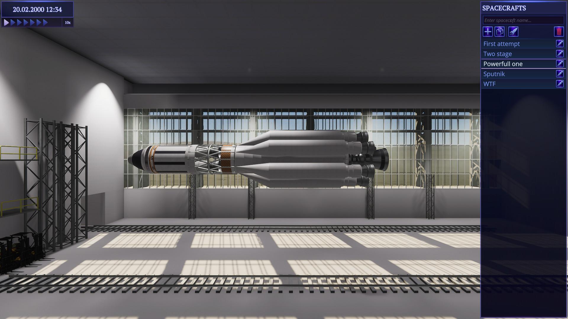 Petite différence par rapport à KSP : l'assemblage des fusées se fait à l'horizontale. Pas certain que ça soit l'idée du siècle.
