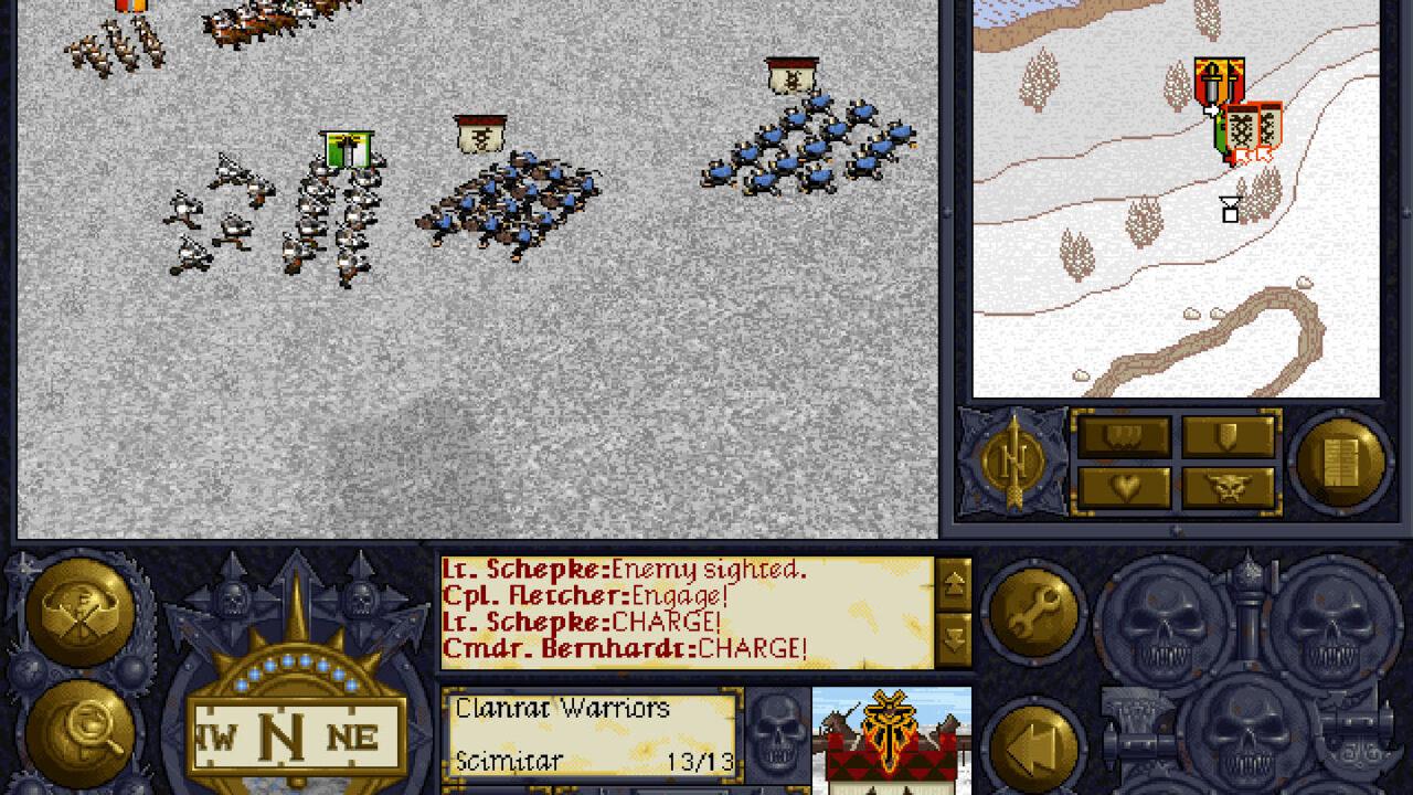 Vous voyez une purée de pixels? Pour ma part, je vois de l'infanterie qui charge des Skavens pendant que la cavalerie arrive par le flanc, sous la couverture des arbalétriers.