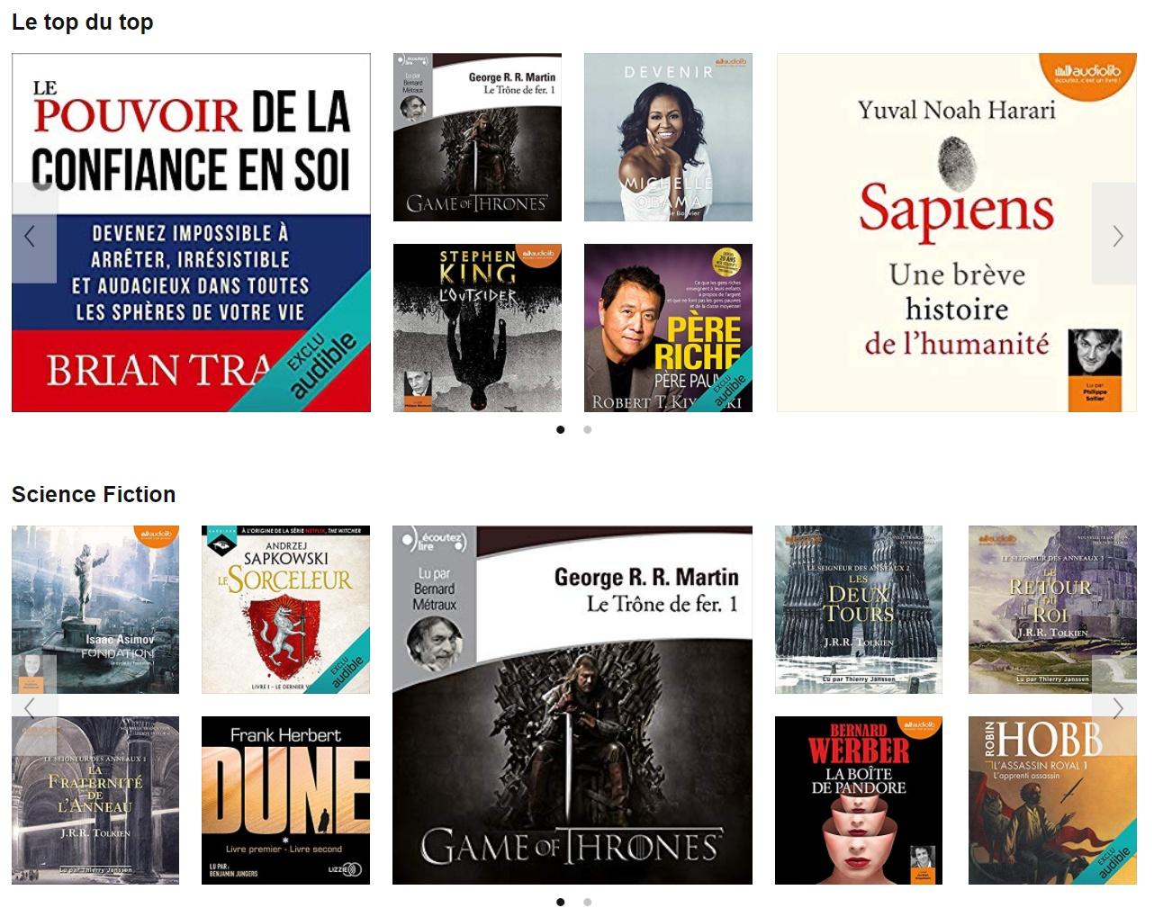 Une application pour audiobooks sur smartphone, abonnement à 9,95 € par mois.