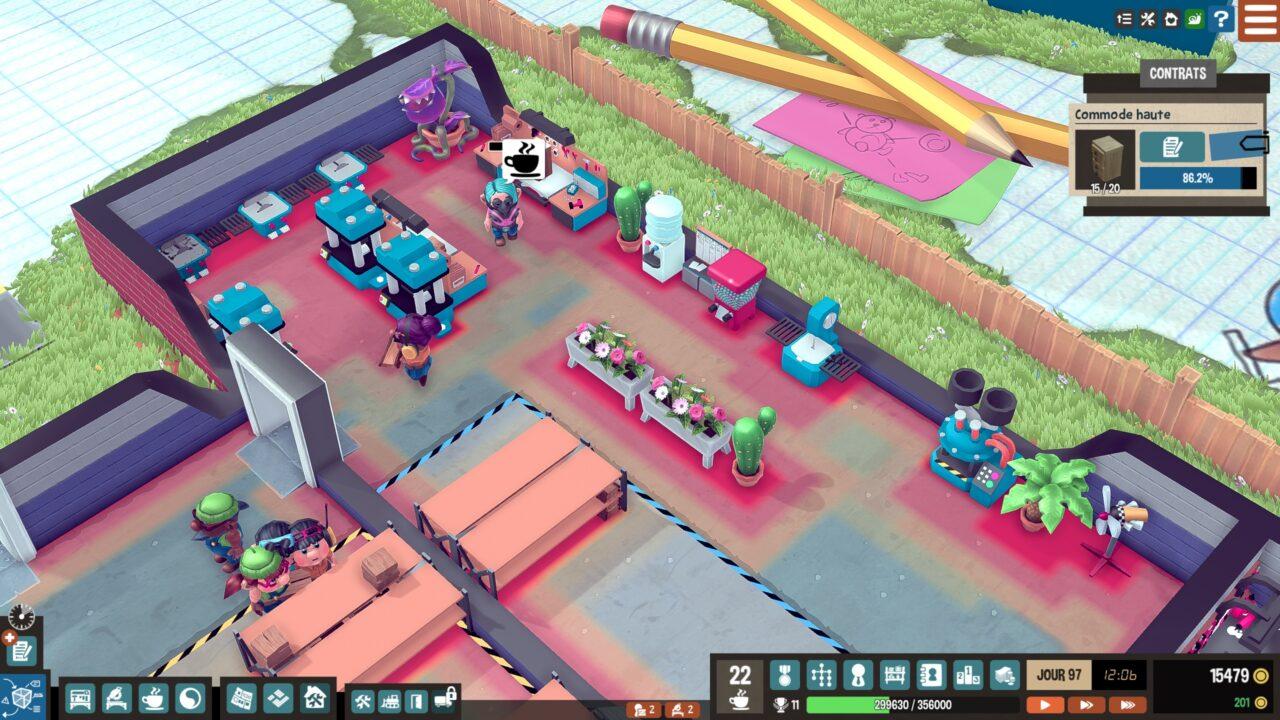La taille de l'usine étant limitée et les parcelles supplémentaires très coûteuses, il faut placer stratégiquement les machines en évitant qu'elles ne créent des zones d'obstruction (en rouge sur la photo d'écran) ralentissant les ouvriers.