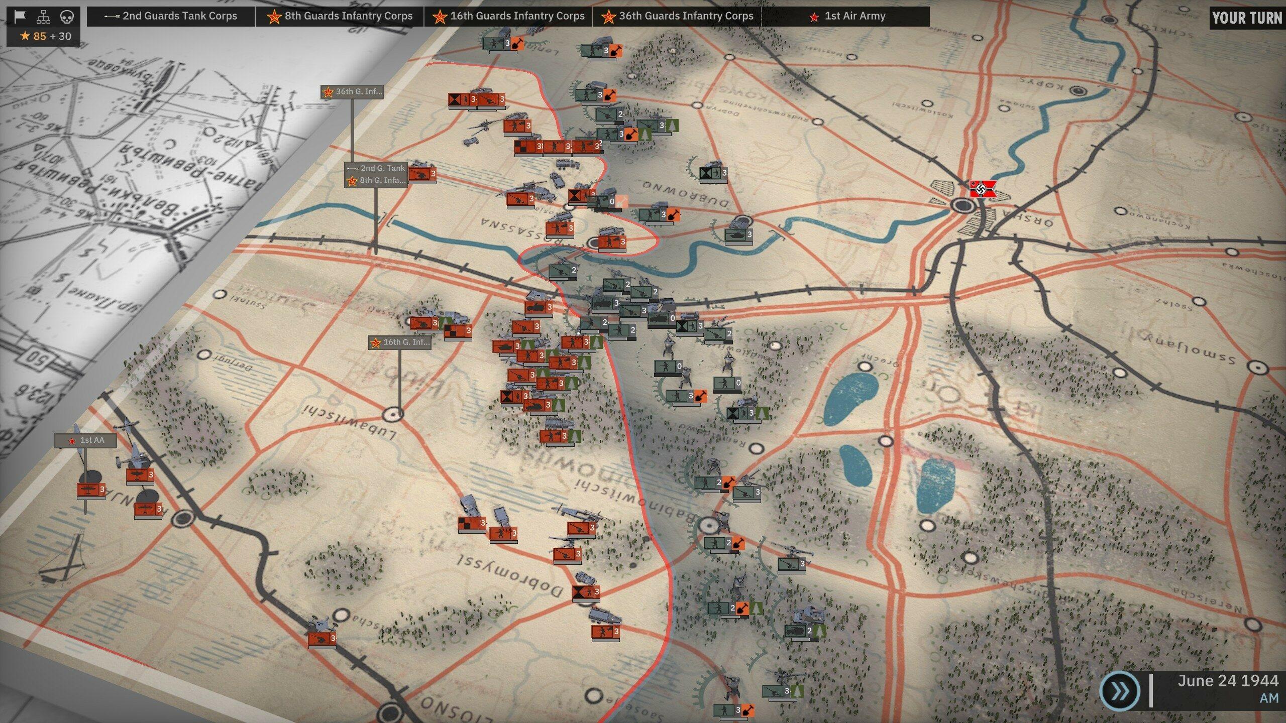 Situation de départ sur un des scénarios les plus complexes du mode Army General. Oui, il faut être motivé pour se lancer là-dedans.