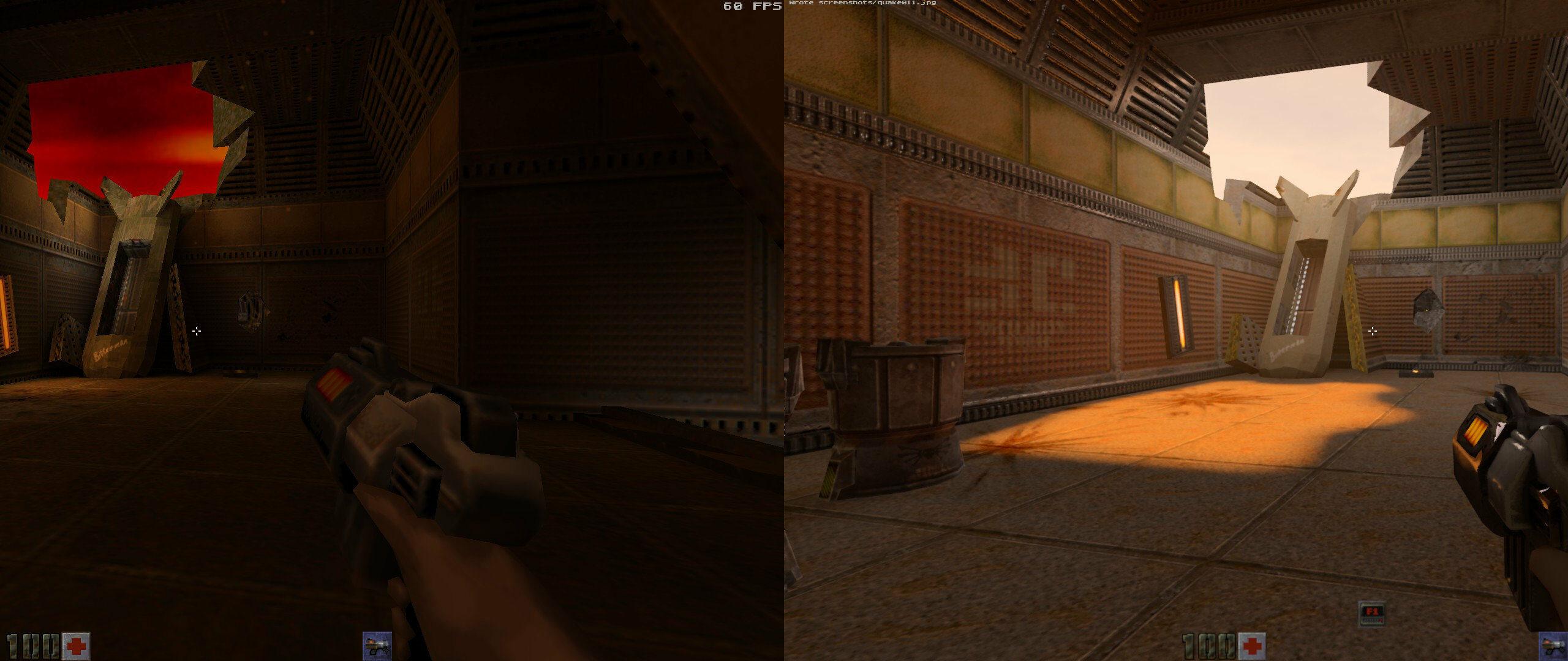 À gauche, le rendu OpenGL original. À droite, la même scène en RTX.