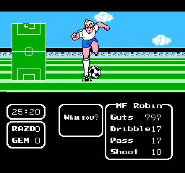 Le premier épisode de Captain Tsubasa sur NES sera renommé et presque relooké. On voit quand même vaguement un air de famille.