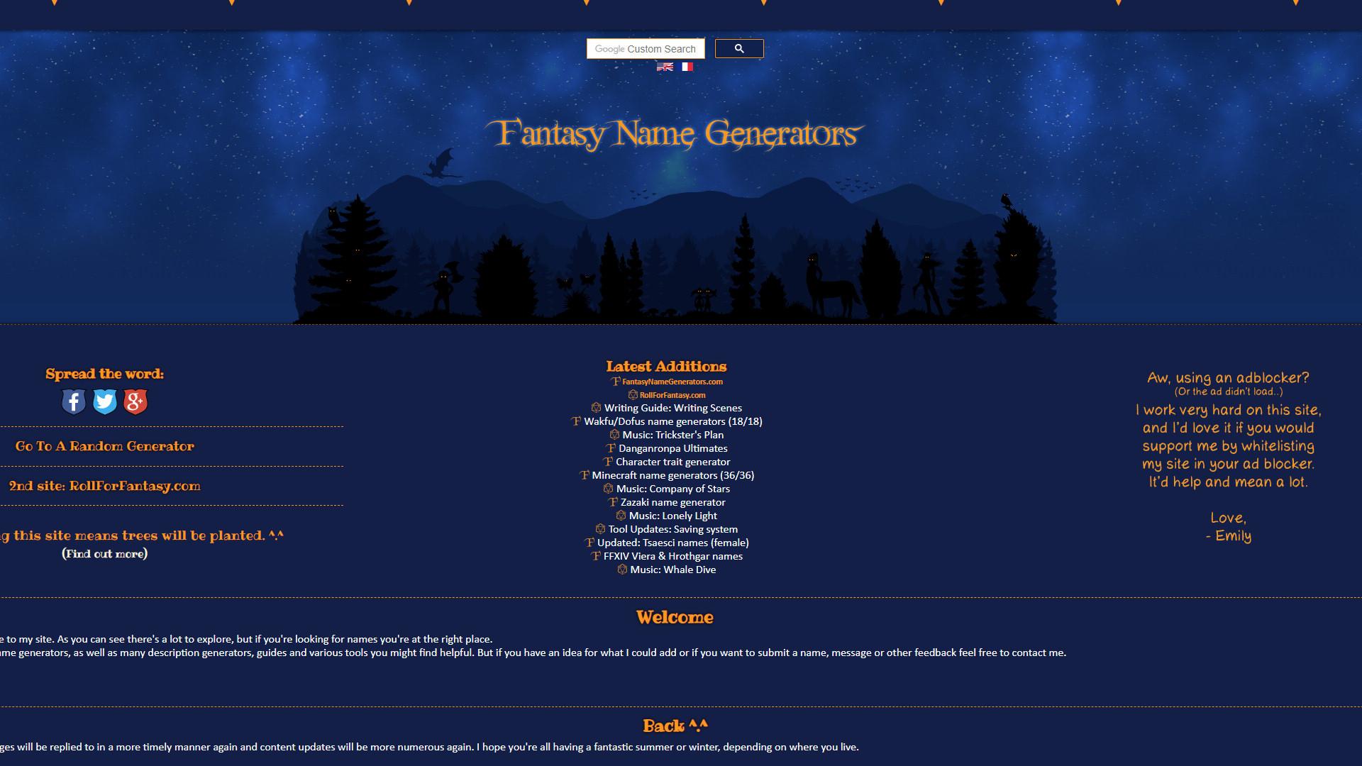 Fantasy Names Generator