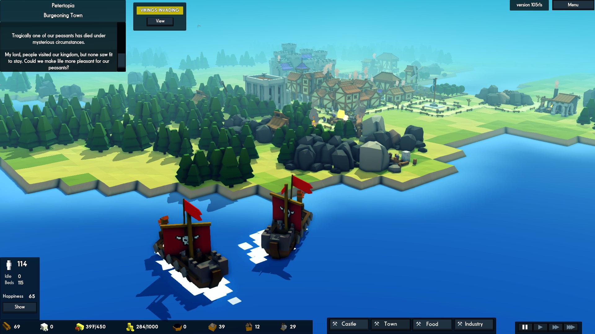 Les bateaux sont réservés aux Vikings qui viennent régulièrement se faire étriper par l'armée locale. C'est dommage, j'aurais bien voulu en construire et explorer au-delà de la minuscule île de départ.
