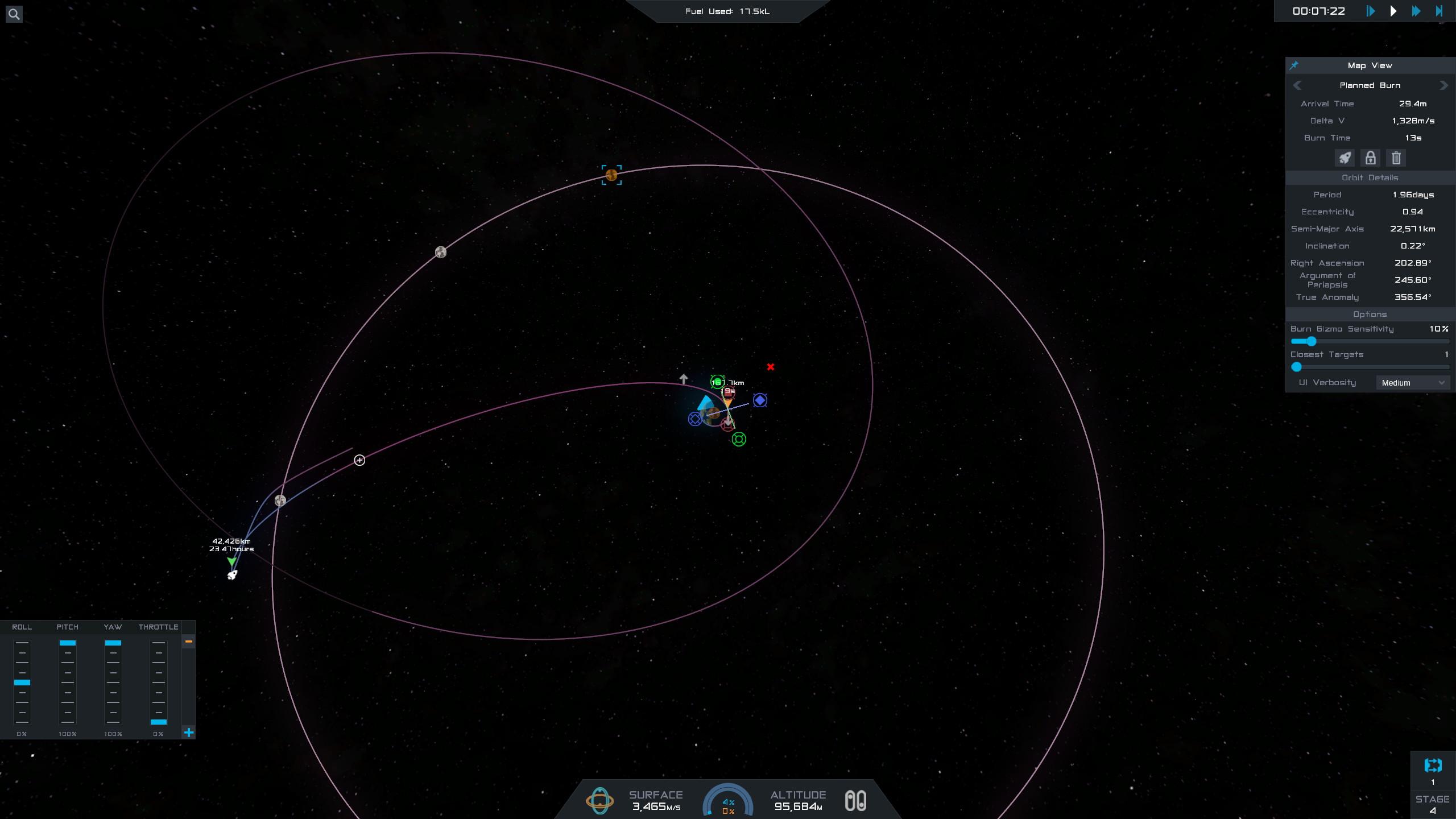 La navigation spatiale se fait exactement comme dans Kerbal Space Program, mais avec une interfaceplus claire et des nodes de navigation plus facilement manipulables.