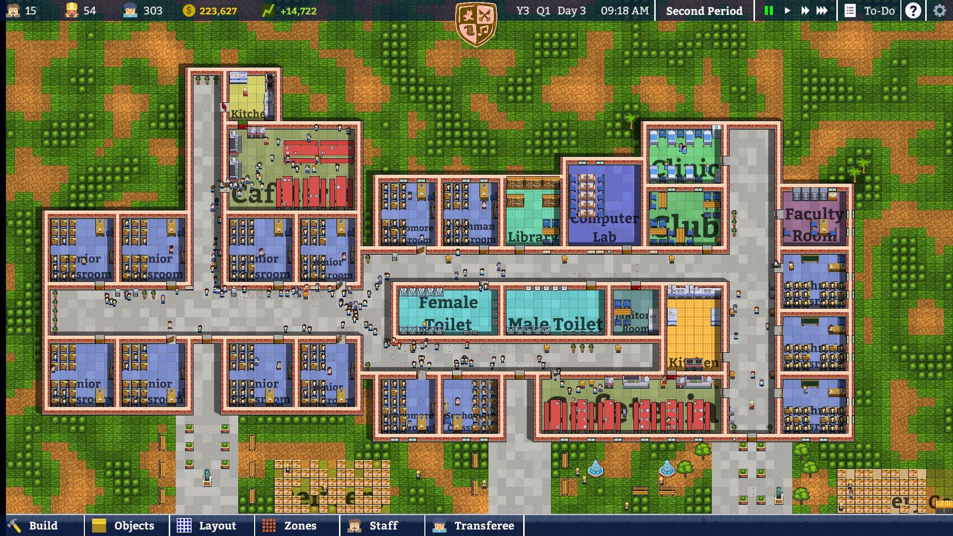 Petite déception : le jeu n'est pas aussi soigné que Prison Architect au niveau graphique (alors que c'est le même directeur artistique). Il y a un peu d'aliasing, le terrain est momoche et les animations sont en chantier.