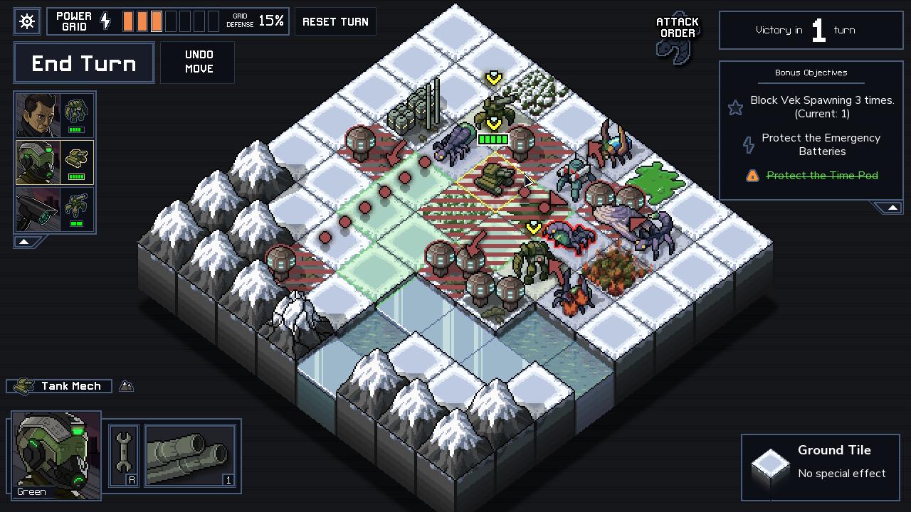 Les petites cases rayées en bordeaux ? Oh, ce n'est rien, simplement les endroits où l'ennemi attaquera... OK, je suis mort juste après.