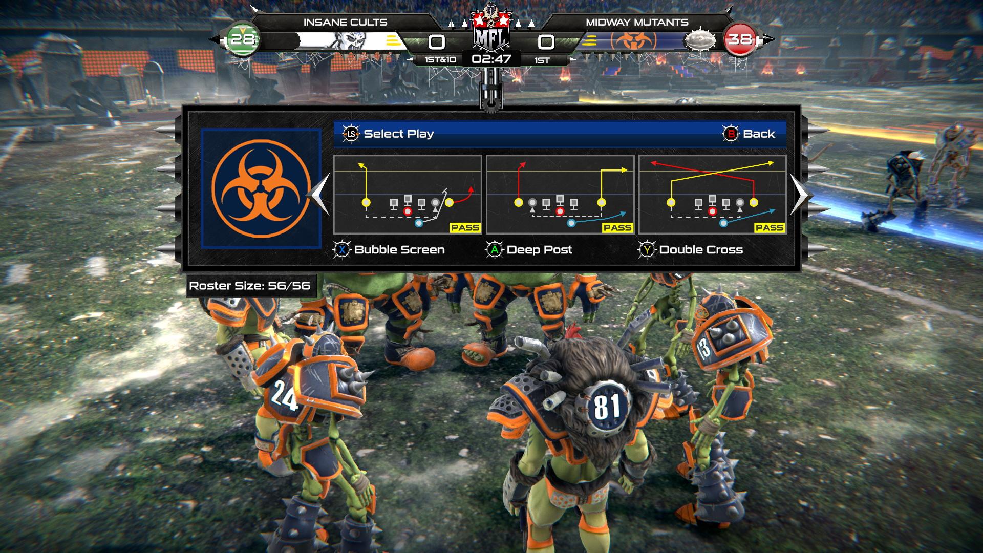 Exactement comme dans Madden NFL, on choisit une tactique du playbook avant chaque mise en jeu, avec des petits diagrammes indiquant le trajet des receveurs ou des runners.