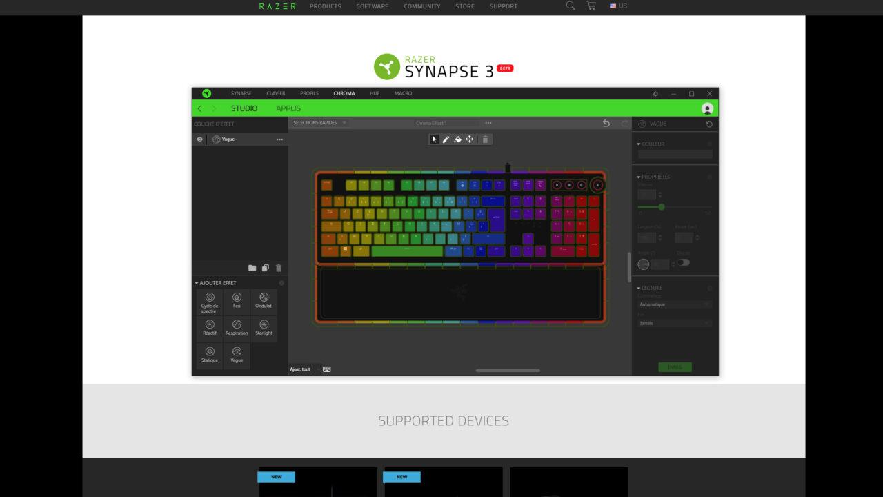 L'interface Synapse 3 permet de choisir la couleur touche par touche.
