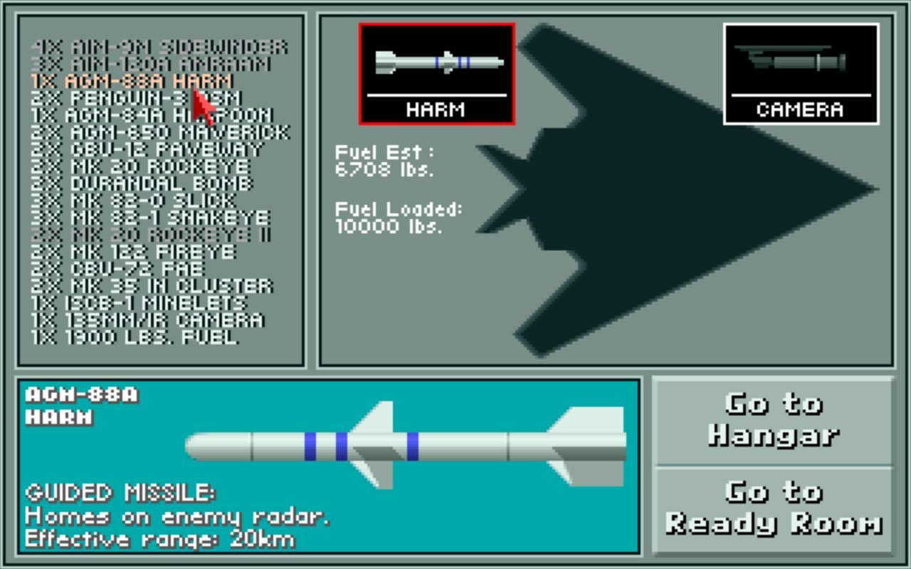 Le véritable F-117A ne dispose d'aucun missile et uniquement de bombes guidées presque toutes similaires. Heureusement, Microprose n'a pas poussé le réalisme jusque-là.