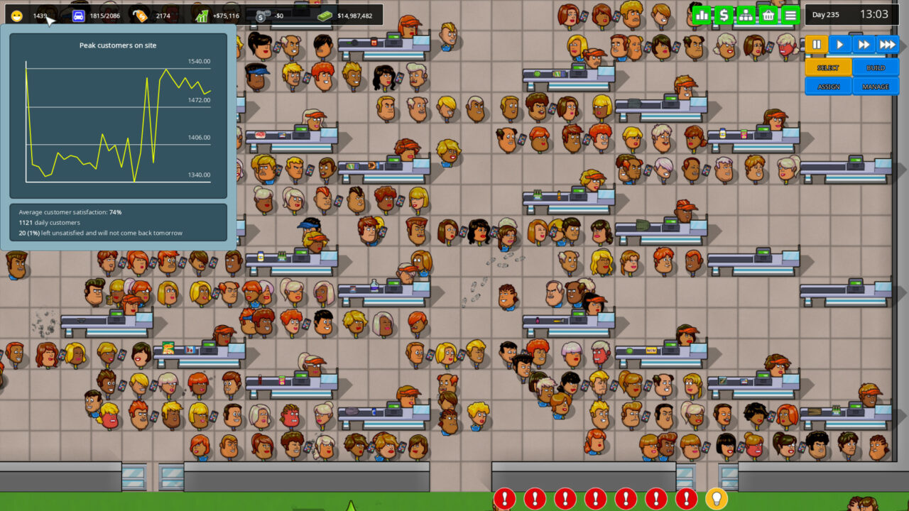 Another Brick in the Mall (un jeu de construction/gestion de centre commercial que je vous recommande chaudement) peut afficher plusieurs milliers de personnages et gérer leur pathfinding sans aucun ralentissement grâce au multithreading.