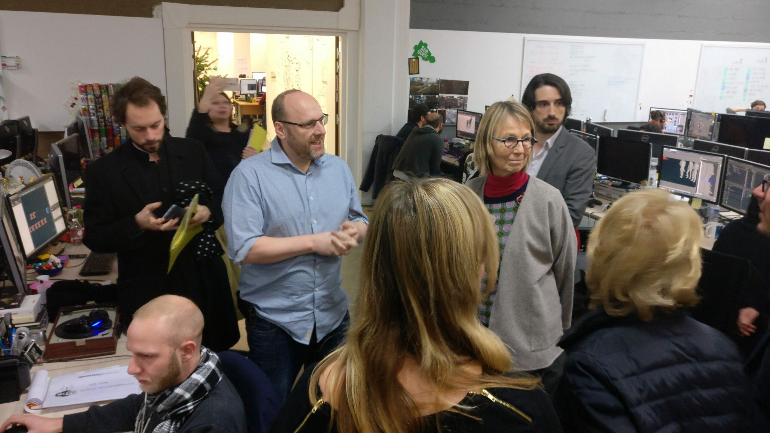 Fin décembre, la ministre de la Culture Françoise Nyssen (à droite) a été reçue par David Cage (à gauche).