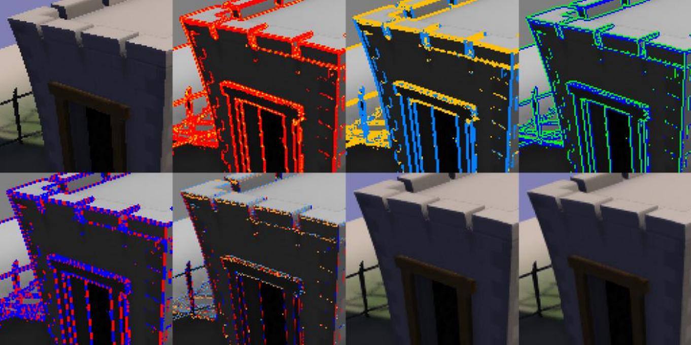 Une visualisation des algorithmes utilisés par le FXAA pour identifier les pixels à lisser.