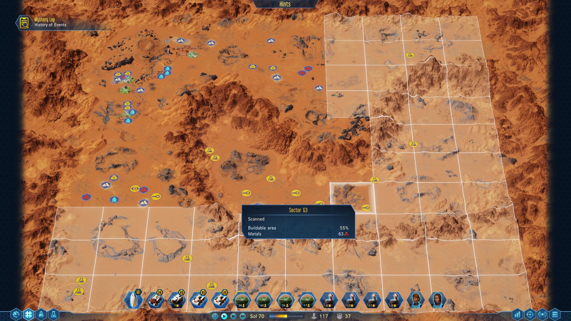Sur la carte stratégique, on scanne différents secteurs afin de trouver les gisements de ressources. C'est en analysant cet écran qu'on se dit « purée, mais comment je vais faire pour atteindre ce coin bourré de métal !? ». Spoiler : en construisant des tunnels.