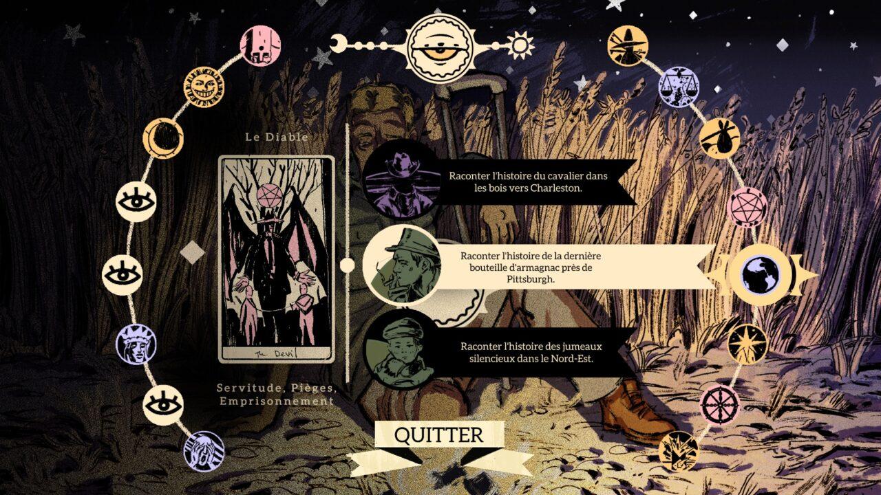 Lors des dialogues, les histoires sont classées sous des cartes de tarot, ce qui est encore moins pratique que ça en a l'air.