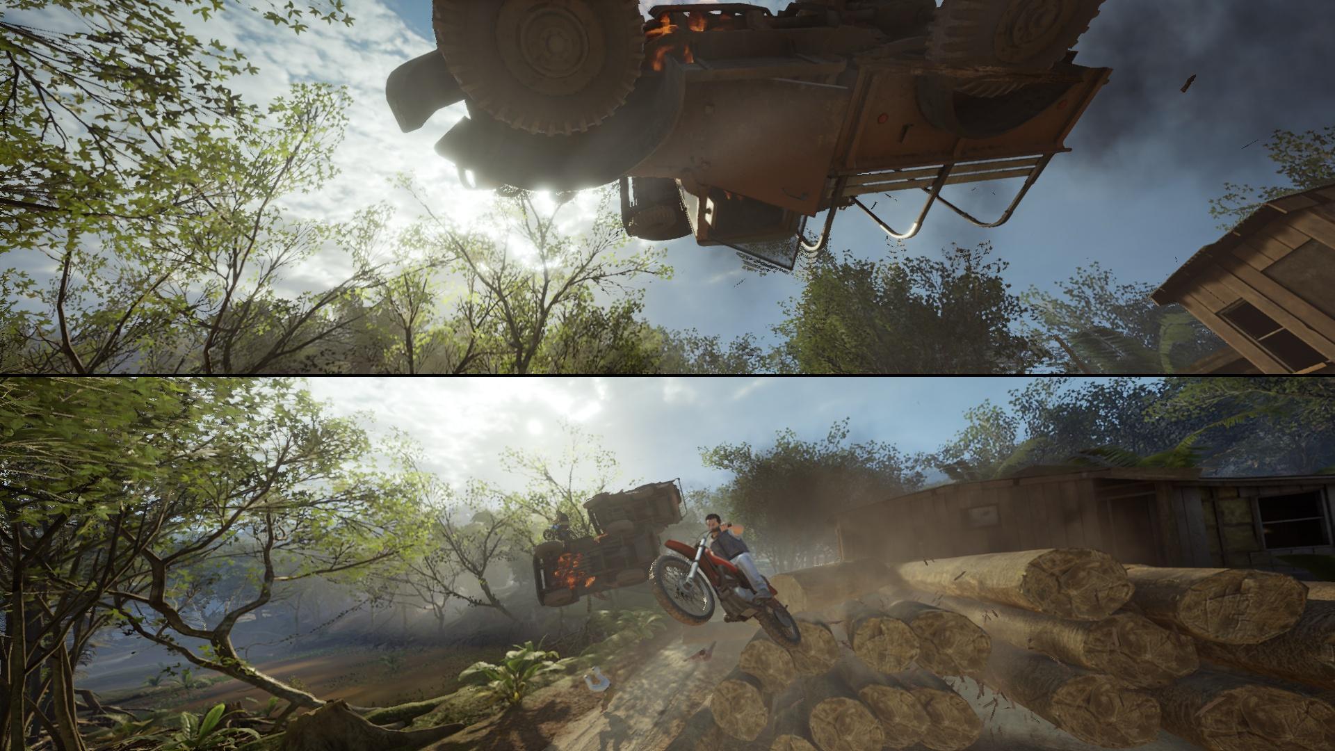 Ce n'est pas forcément très clair à l'arrêt, alors imaginez que sur cette image, deux motos, chacune poursuivie par une jeep, se croisent au ralenti et que les deux voitures rentrent l'une dans l'autre et explosent, pendant que nous-mêmes explosons de rire devant l'écran.