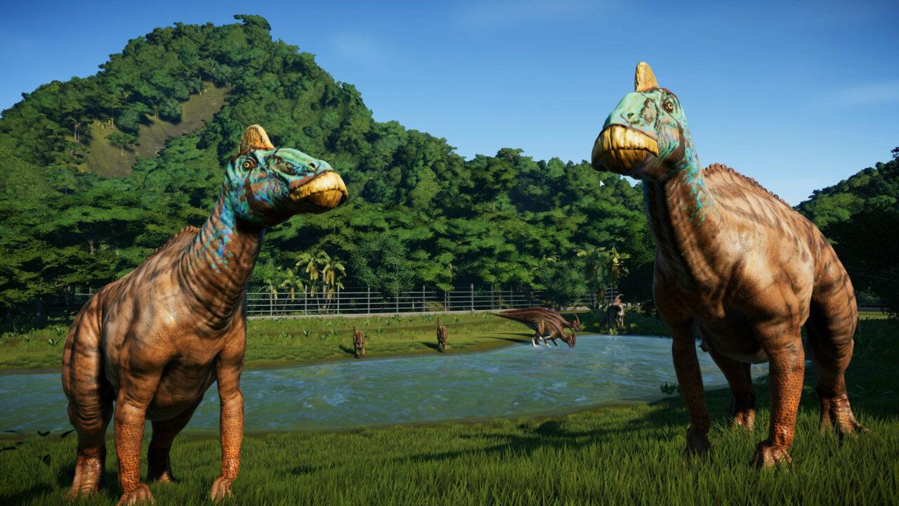 Nous voyons ici deux hadrosaurus, ou « dinosaures à bec de canard », ancêtres des membres de notre rédaction.