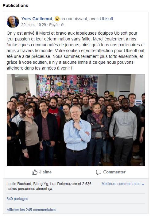 Pas mécontent après l'annonce du départ de Vivendi, Yves Guillemot a été jusqu'à payer pour mettre en avant son message sur Facebook.