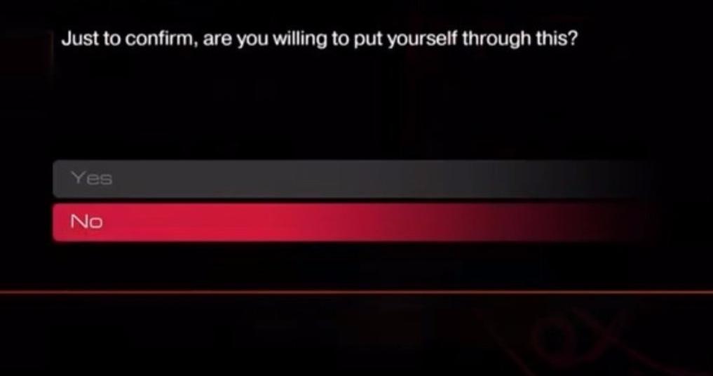 L'avertissement de Doom avant d'entamer une partie en ultra-nightmare, qui oblige à tout recommencer depuis le début en cas de mort. On apprécie l'honnêteté.