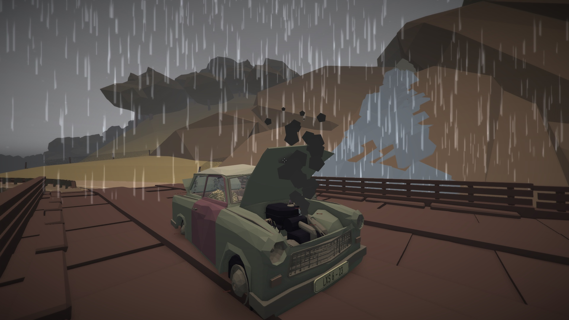 Ma voiture, qui a le sens théâtral, a attendu de se trouver sur un pont de bois surplombant une chute d'eau, en haut d'une falaise en bord de mer, pour rendre l'âme.