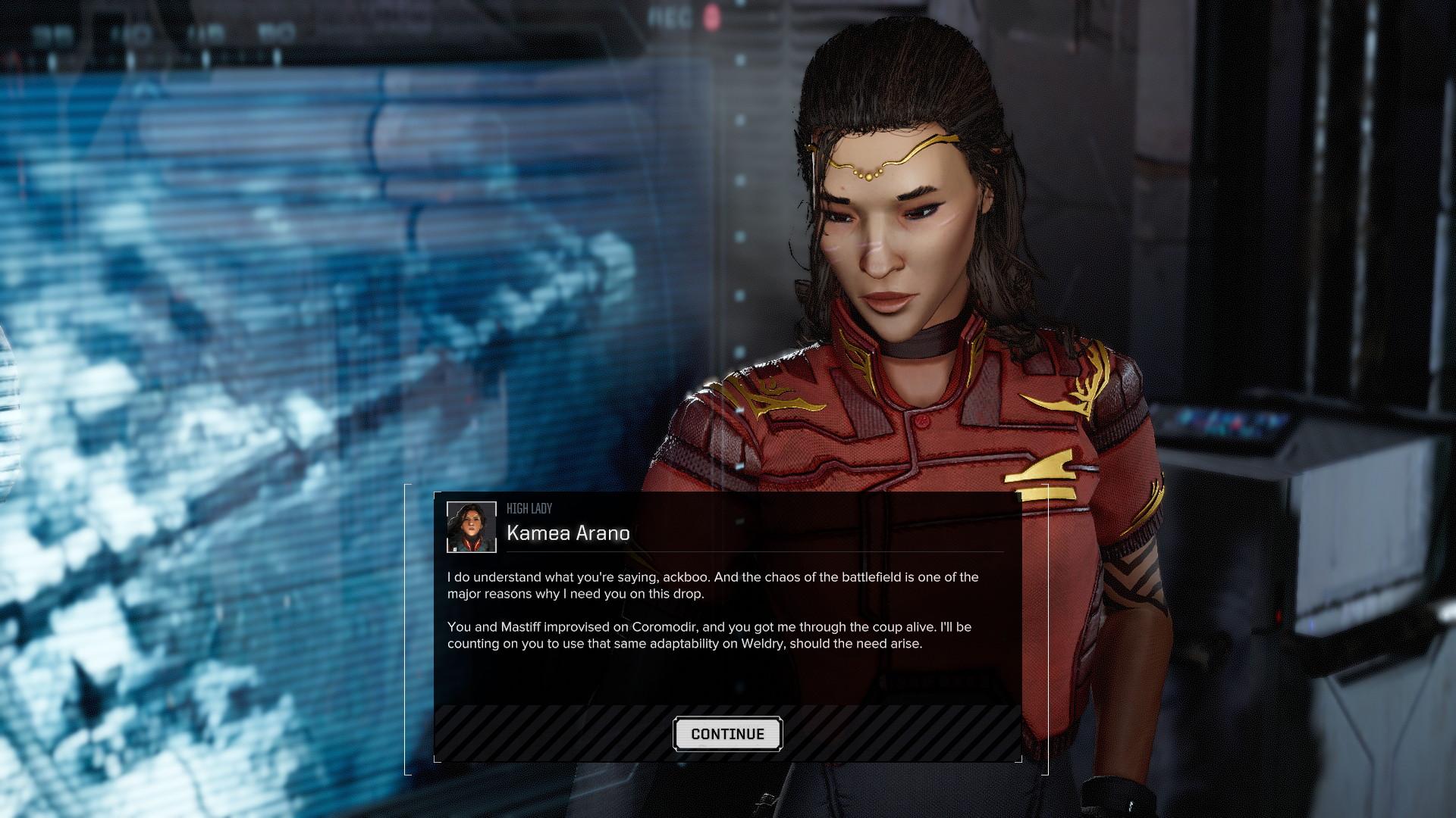 La progression dans la campagne solo se fait de manière libre, en choisissant parmi des dizaines de contrats de mercenariat. Mais pour progresser dans le scénario, il faut aider cette princesse à récupérer son trône. L'avantage, c'est qu'elle paye très bien.