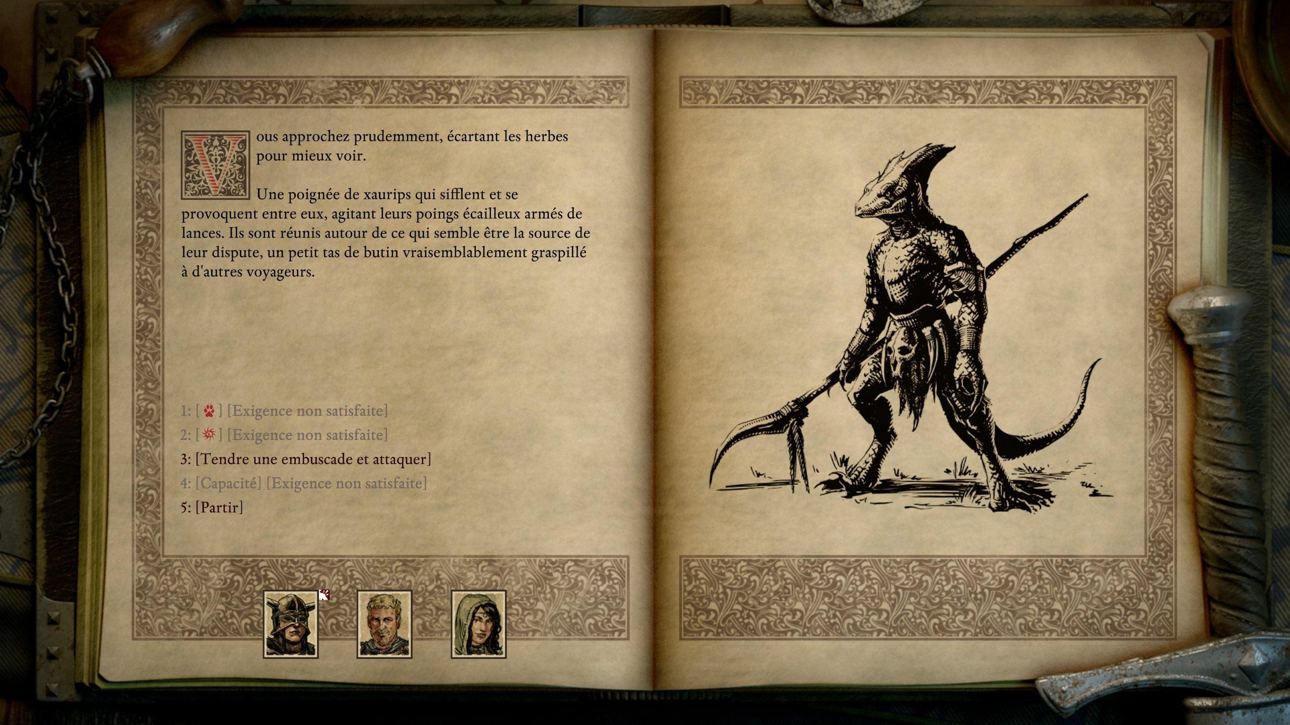 Les passages façon Livre dont vous êtes le héros sont plus nombreux que dans le premier Pillars of Eternity. Ils sont aussi mieux écrits et utilisent plus de compétences du joueur et de son groupe.