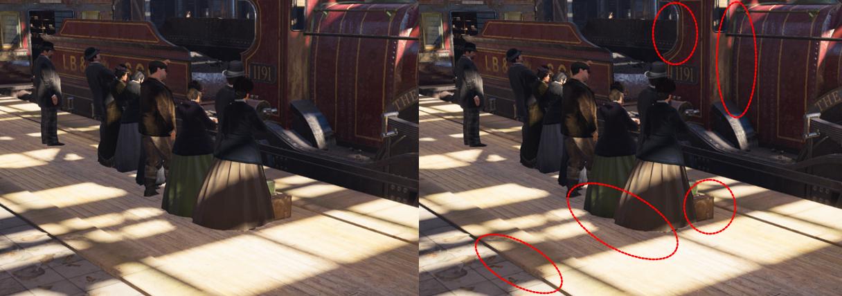 Àgauche, Assassin's Creed Syndicate sans ambient occlusion. À droite, le shader est actif.
